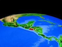 El Salvador from space on Earth. El Salvador on model of planet Earth with country borders and very detailed planet surface. 3D illustration. Elements of this royalty free illustration