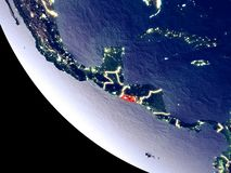 El Salvador from space on Earth. Orbit view of El Salvador at night with bright city lights. Very detailed plastic planet surface. 3D illustration. Elements of royalty free stock photo