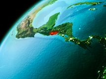 El Salvador from space in evening. Evening over El Salvador as seen from space on planet Earth. 3D illustration. Elements of this image furnished by NASA Royalty Free Stock Photo