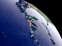 El Salvador from space. El Salvador at night from orbit. Plastic planet surface with visible city lights. 3D illustration. Elements of this image furnished by stock illustration