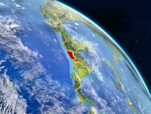 El Salvador from space. On realistic model of planet Earth with country borders and detailed planet surface and clouds. 3D illustration. Elements of this image royalty free illustration