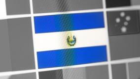 El Salvador Staatsflagge des Landes El Salvador Flagge auf der Anzeige, ein digitaler Wässerungseffekt stockfotos