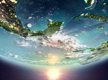 El Salvador with sun. El Salvador during sunrise highlighted in red on planet Earth with clouds. 3D illustration. Elements of this image furnished by NASA vector illustration