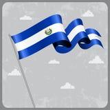 El Salvador wavy flag. Vector illustration. Royalty Free Stock Images