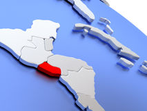 El Salvador on world map Stock Images