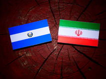 El Salvadoran flag with Iranian flag on a tree stump isolated. El Salvadoran flag with Iranian flag on a tree stump Stock Photo