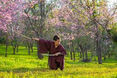 El samurai japonés está agarrando la espada, preparándose para luchar fotos de archivo libres de regalías