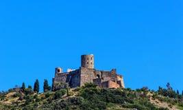 El santo Elme del fuerte, castillo histórico entre Collioure y puerto Vendres, Francia meridional Fotografía de archivo