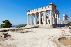 El santuario de Aphaia en la isla de Aegina, Grecia Foto de archivo libre de regalías
