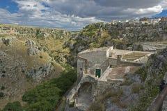 El Sassi de Matera, Italia del sur. Imagen de archivo libre de regalías