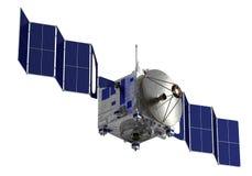 El satélite despliega los paneles solares stock de ilustración
