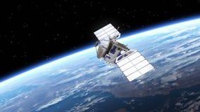 El satélite despliega los paneles solares libre illustration