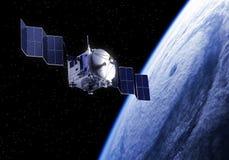 El satélite despliega los paneles solares en espacio Imagen de archivo libre de regalías