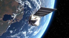 El satélite despliega los paneles solares en espacio ilustración del vector