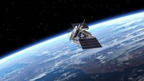 El satélite despliega los paneles solares transición Pantalla verde stock de ilustración