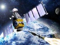 El satélite militar golpea abajo Fotografía de archivo libre de regalías