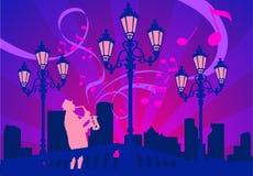 El saxofonista en una declinación, vector Imagen de archivo