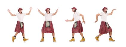 El scotsman divertido aislado en blanco imagenes de archivo