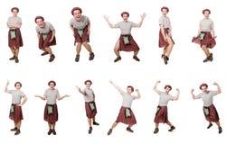 El scotsman divertido aislado en blanco Imagen de archivo
