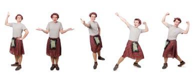 El scotsman divertido aislado en blanco Fotografía de archivo