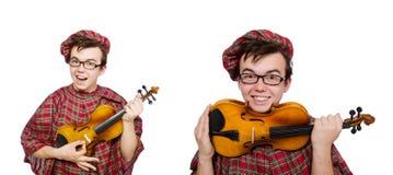 El scotsman divertido con el violín en blanco fotografía de archivo