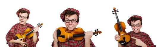 El scotsman divertido con el violín en blanco Imagen de archivo