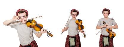 El scotsman divertido con el violín en blanco Imagen de archivo libre de regalías