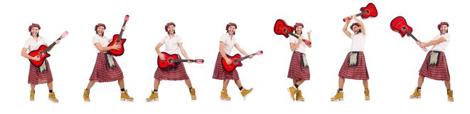 El scotsman que toca la guitarra aislada en blanco foto de archivo libre de regalías