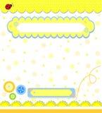 El scrapbooking amarillo romántico para la invitación Imágenes de archivo libres de regalías
