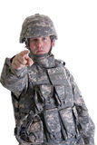 El señalar americano del soldado del combate fotografía de archivo