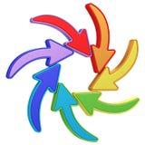 El señalar curvado colorido de las flechas Imagen de archivo libre de regalías