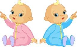 El señalar de dos bebés Imágenes de archivo libres de regalías