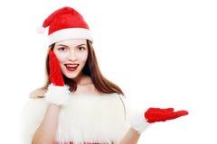 El señalar de la muchacha de la Navidad Imagen de archivo