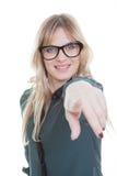 El señalar de la mujer de negocios fotografía de archivo libre de regalías