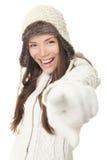 El señalar de la mujer del invierno Imagen de archivo libre de regalías