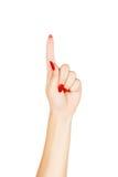 El señalar del finger de la mujer Imagen de archivo libre de regalías