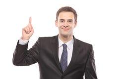 El señalar del hombre de negocios Imagen de archivo