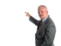 El señalar del meteorólogo o del hombre de negocios fotos de archivo libres de regalías