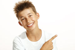 El señalar del muchacho Imagen de archivo libre de regalías