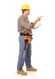 El señalar del trabajador de construcción Fotos de archivo