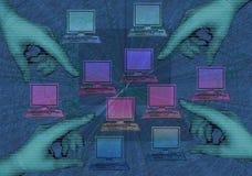 El señalar en los ordenadores ilustración del vector