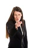 El señalar enojado de la empresaria Fotos de archivo