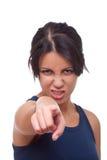 El señalar enojado de la mujer imagen de archivo