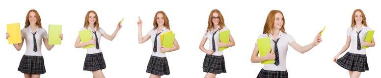 El señalar femenino del estudiante joven aislado en blanco Fotografía de archivo libre de regalías