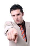 El señalar joven acertado del hombre de negocios Fotos de archivo