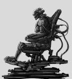 El señor oscuro se sienta en traje en su trono del hierro Ejemplo de la ciencia ficción stock de ilustración