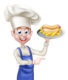 El señalar de With Hot Dog del cocinero de la historieta Imagen de archivo libre de regalías