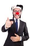 El señalar del payaso del hombre de negocios Fotografía de archivo libre de regalías