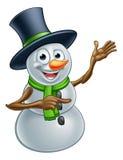 El señalar del personaje de dibujos animados del muñeco de nieve de la Navidad Fotografía de archivo