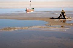 EL seco Jeridâ Túnez del sur de Chott del â del lago de sal Foto de archivo